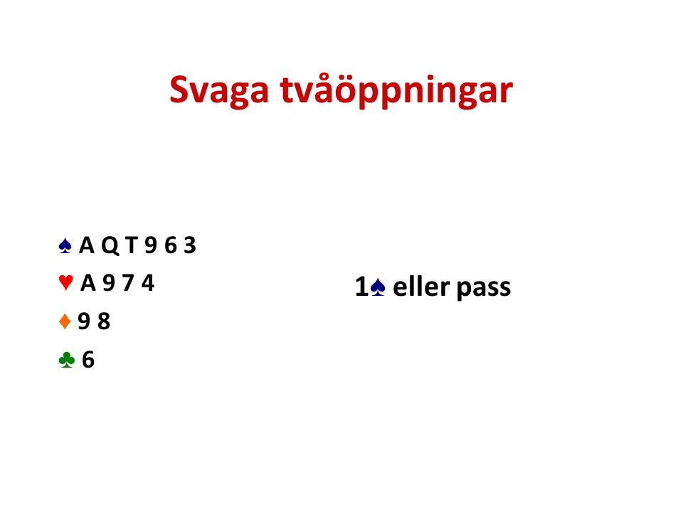 Svaga tvåöppningar ♠ A Q T 9 6 3 ♥ A 9 7 4 ♦ 9 8 ♣ 6 1 ♠ eller pass