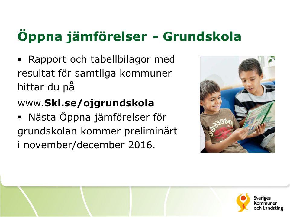 Öppna jämförelser - Grundskola  Rapport och tabellbilagor med resultat för samtliga kommuner hittar du på www.Skl.se/ojgrundskola  Nästa Öppna jämförelser för grundskolan kommer preliminärt i november/december 2016.