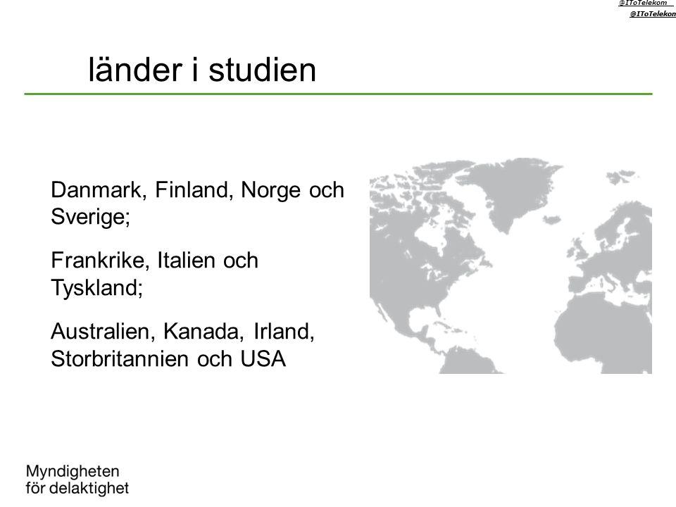 länder i studien @IToTelekom @IToTelekom @IToTelekom Danmark, Finland, Norge och Sverige; Frankrike, Italien och Tyskland; Australien, Kanada, Irland,