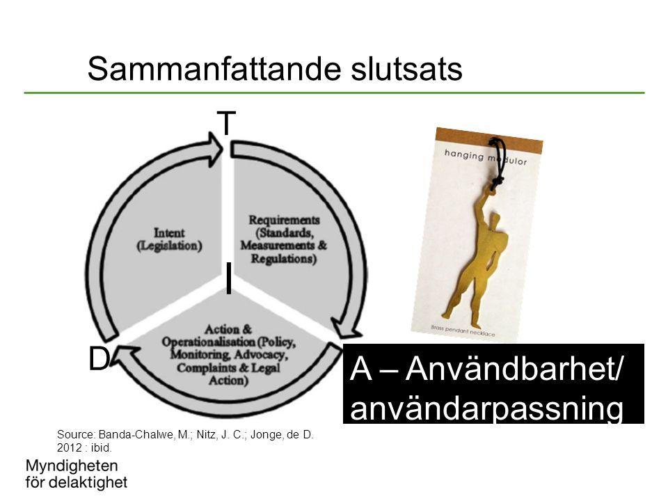 Sammanfattande slutsats I D A T Source: Banda-Chalwe, M.; Nitz, J. C.; Jonge, de D. 2012 : ibid. A – Användbarhet/ användarpassning