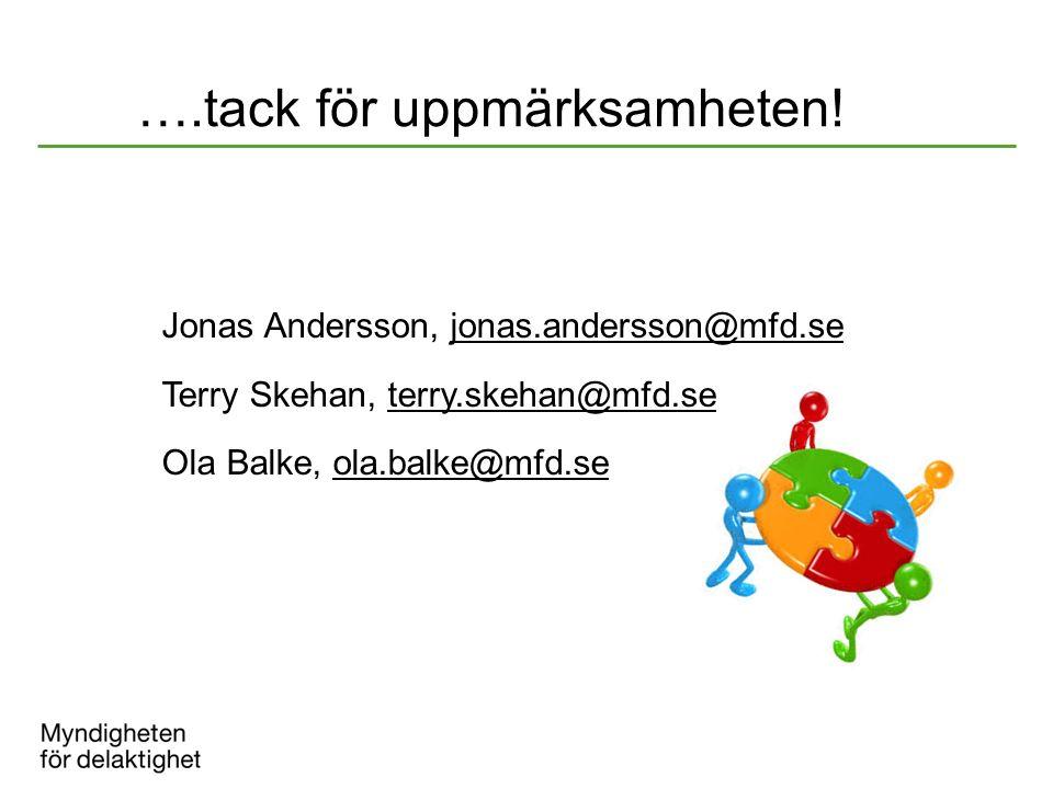 Jonas Andersson, jonas.andersson@mfd.sejonas.andersson@mfd.se Terry Skehan, terry.skehan@mfd.seterry.skehan@mfd.se Ola Balke, ola.balke@mfd.seola.balk