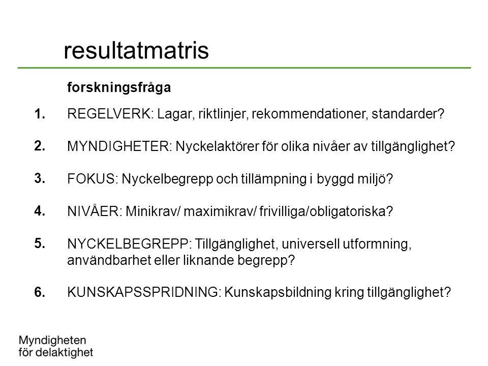 resultatmatris forskningsfråga 1. 2. REGELVERK: Lagar, riktlinjer, rekommendationer, standarder? MYNDIGHETER: Nyckelaktörer för olika nivåer av tillgä