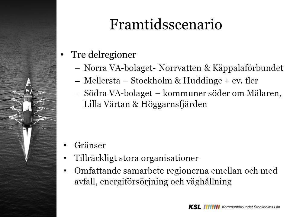 Framtidsscenario Tre delregioner – Norra VA-bolaget- Norrvatten & Käppalaförbundet – Mellersta – Stockholm & Huddinge + ev.