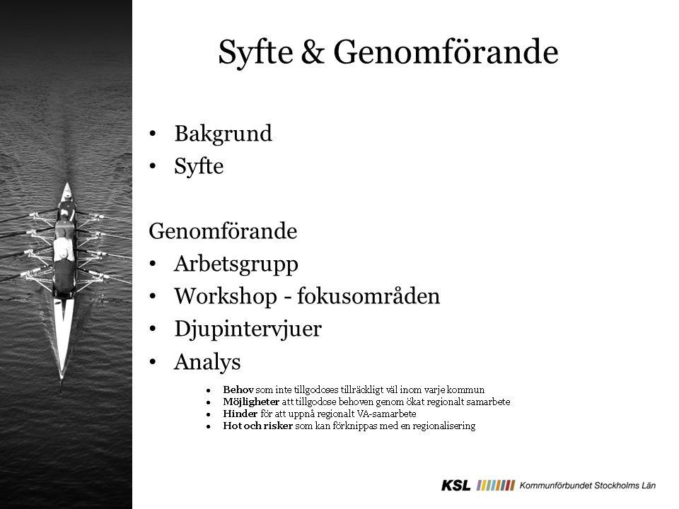 Syfte & Genomförande Bakgrund Syfte Genomförande Arbetsgrupp Workshop - fokusområden Djupintervjuer Analys