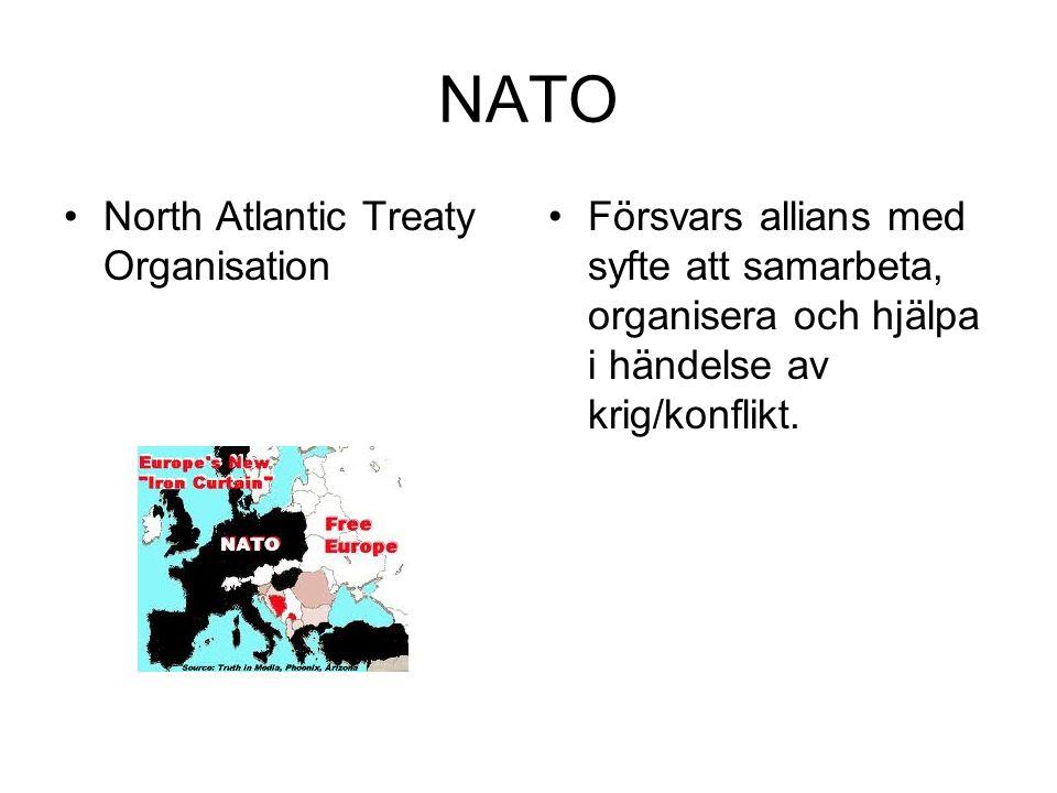 NATO North Atlantic Treaty Organisation Försvars allians med syfte att samarbeta, organisera och hjälpa i händelse av krig/konflikt.