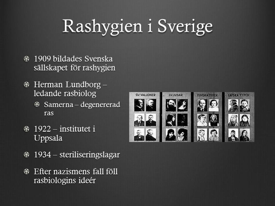 Rashygien i Sverige 1909 bildades Svenska sällskapet för rashygien Herman Lundborg – ledande rasbiolog Samerna – degenererad ras 1922 – institutet i Uppsala 1934 – steriliseringslagar Efter nazismens fall föll rasbiologins ideér