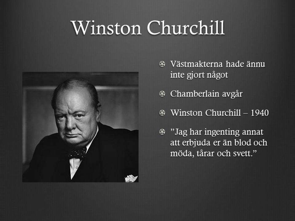 Winston Churchill Västmakterna hade ännu inte gjort något Chamberlain avgår Winston Churchill – 1940 Jag har ingenting annat att erbjuda er än blod och möda, tårar och svett.