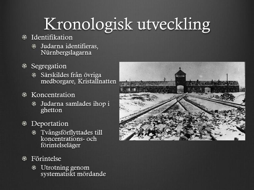 Kronologisk utveckling Identifikation Judarna identifieras, Nürnbergslagarna Segregation Särskildes från övriga medborgare, Kristallnatten Koncentration Judarna samlades ihop i ghetton Deportation Tvångsförflyttades till koncentrations- och förintelseläger Förintelse Utrotning genom systematiskt mördande