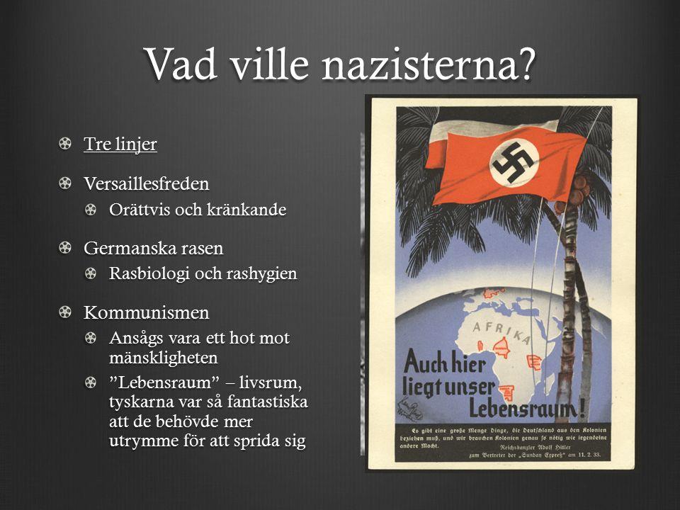 Vad ville nazisterna? Tre linjer Versaillesfreden Orättvis och kränkande Germanska rasen Rasbiologi och rashygien Kommunismen Ansågs vara ett hot mot
