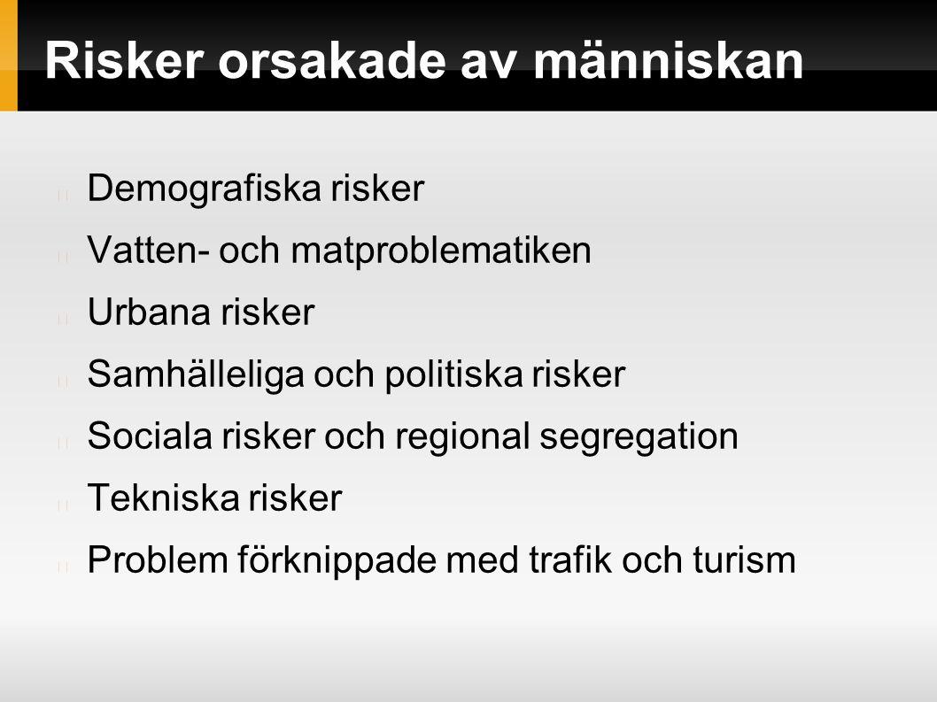 Risker orsakade av människan Demografiska risker Vatten- och matproblematiken Urbana risker Samhälleliga och politiska risker Sociala risker och regional segregation Tekniska risker Problem förknippade med trafik och turism