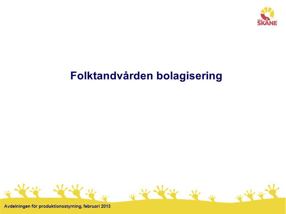 11 Folktandvården bolagisering Avdelningen för produktionsstyrning, februari 2013