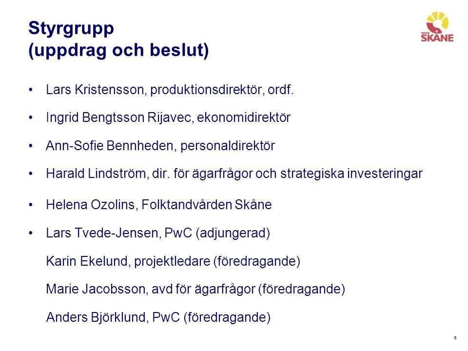 66 Projektledningsgrupp Karin Ekelund, Region Skåne, projektledare Anders Björklund, PwC, processtödsledare