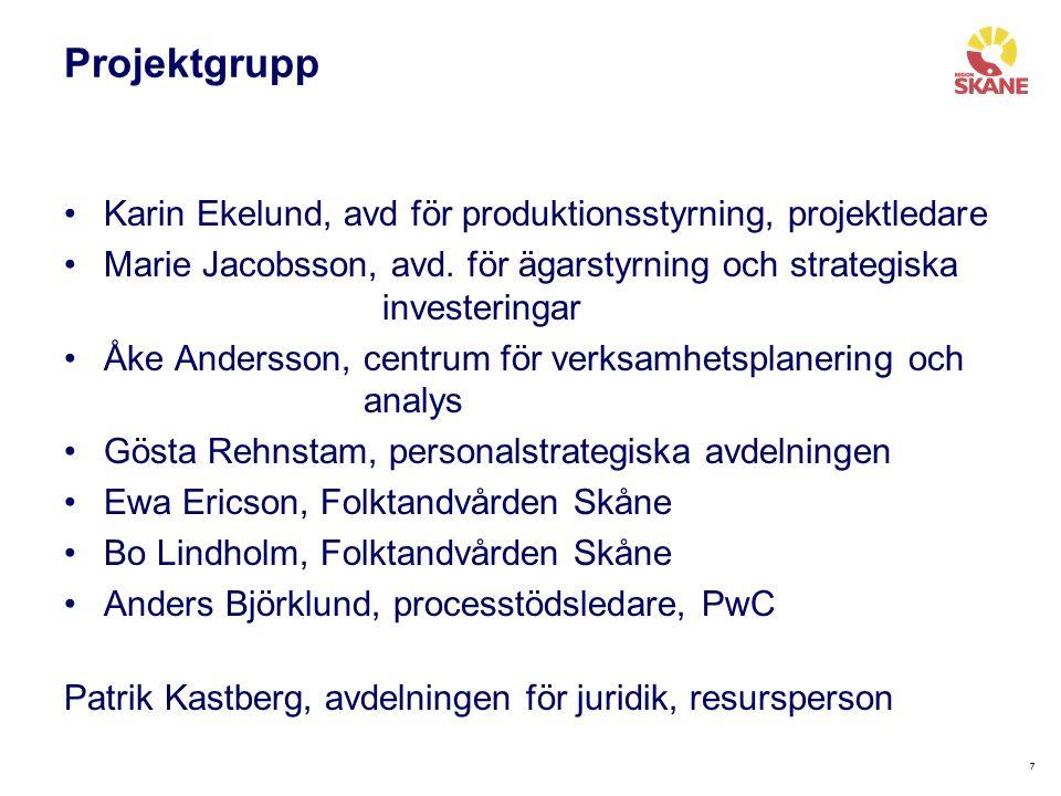 77 Projektgrupp Karin Ekelund, avd för produktionsstyrning, projektledare Marie Jacobsson, avd.
