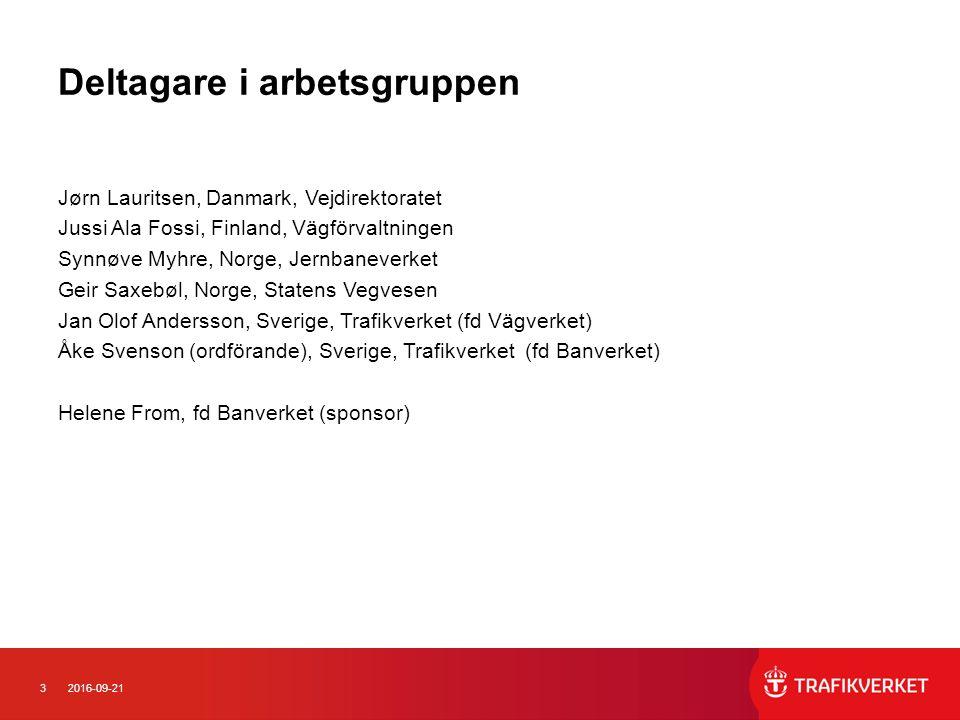 32016-09-21 Deltagare i arbetsgruppen Jørn Lauritsen, Danmark, Vejdirektoratet Jussi Ala Fossi, Finland, Vägförvaltningen Synnøve Myhre, Norge, Jernba
