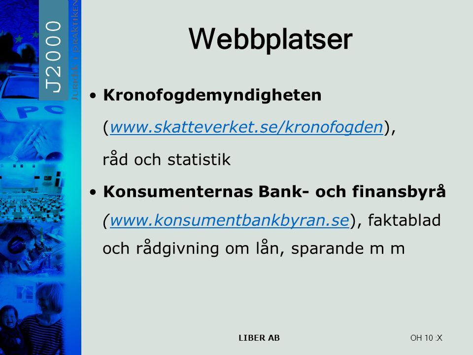 LIBER AB OH 10 Webbplatser Kronofogdemyndigheten (www.skatteverket.se/kronofogden),www.skatteverket.se/kronofogden råd och statistik Konsumenternas Ba
