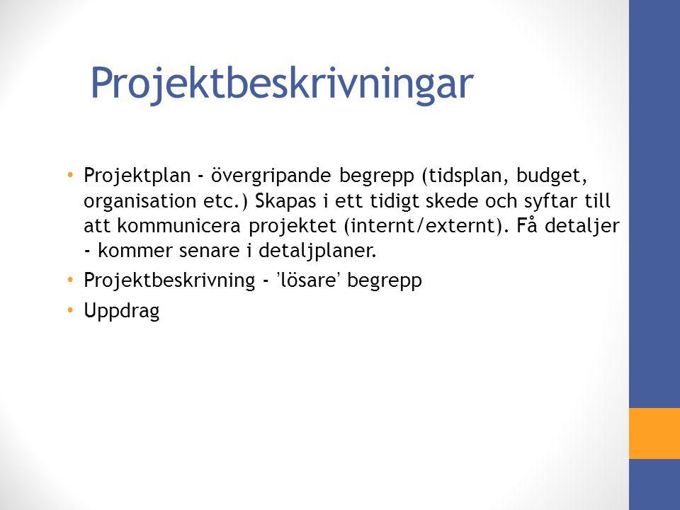 Projektbeskrivningar Projektplan - övergripande begrepp (tidsplan, budget, organisation etc.) Skapas i ett tidigt skede och syftar till att kommunicera projektet (internt/externt).