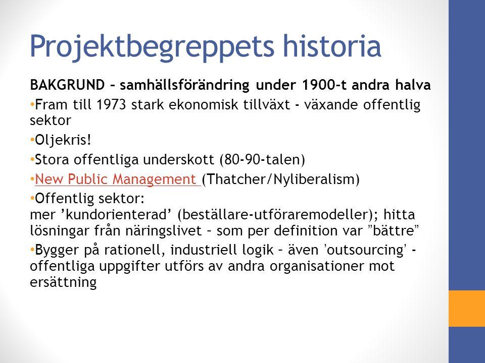 Projektbegreppets historia BAKGRUND – samhällsförändring under 1900-t andra halva Fram till 1973 stark ekonomisk tillväxt - växande offentlig sektor Oljekris.