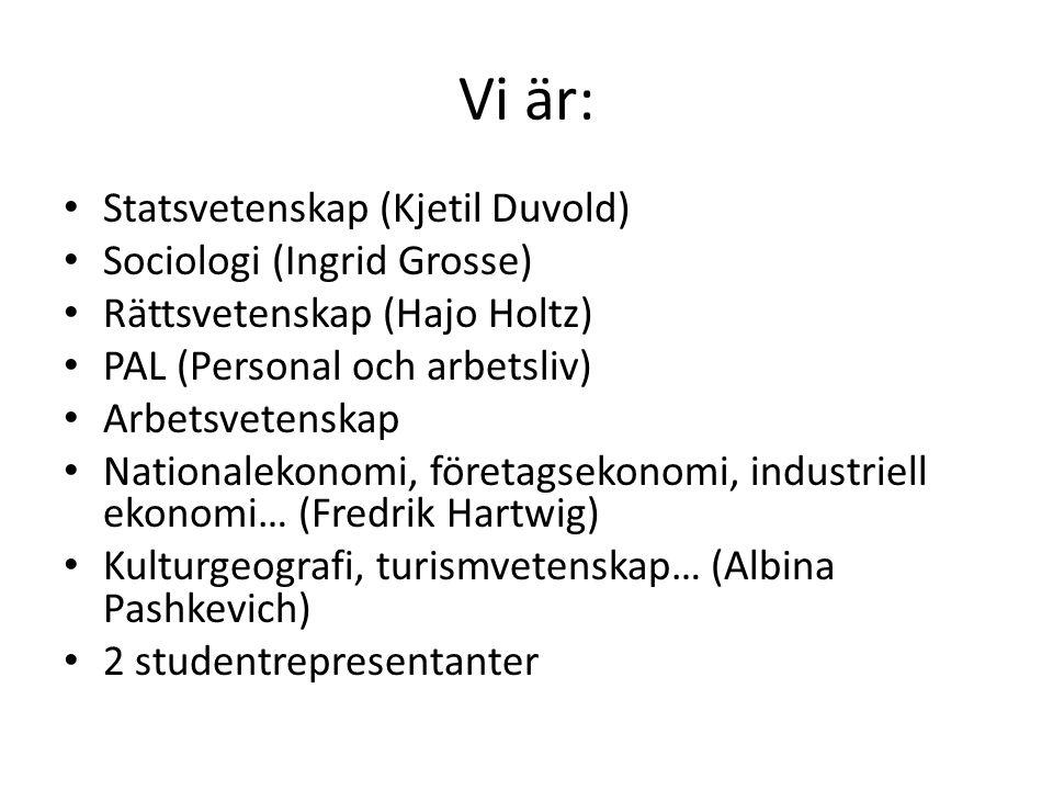 Vi är: Statsvetenskap (Kjetil Duvold) Sociologi (Ingrid Grosse) Rättsvetenskap (Hajo Holtz) PAL (Personal och arbetsliv) Arbetsvetenskap Nationalekonomi, företagsekonomi, industriell ekonomi… (Fredrik Hartwig) Kulturgeografi, turismvetenskap… (Albina Pashkevich) 2 studentrepresentanter