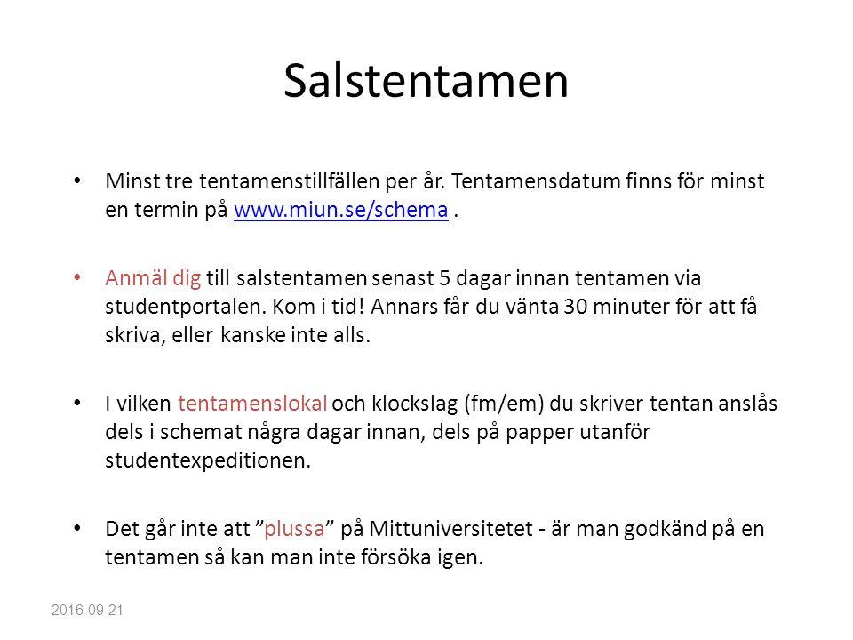 Salstentamen Minst tre tentamenstillfällen per år. Tentamensdatum finns för minst en termin på www.miun.se/schema.www.miun.se/schema Anmäl dig till sa
