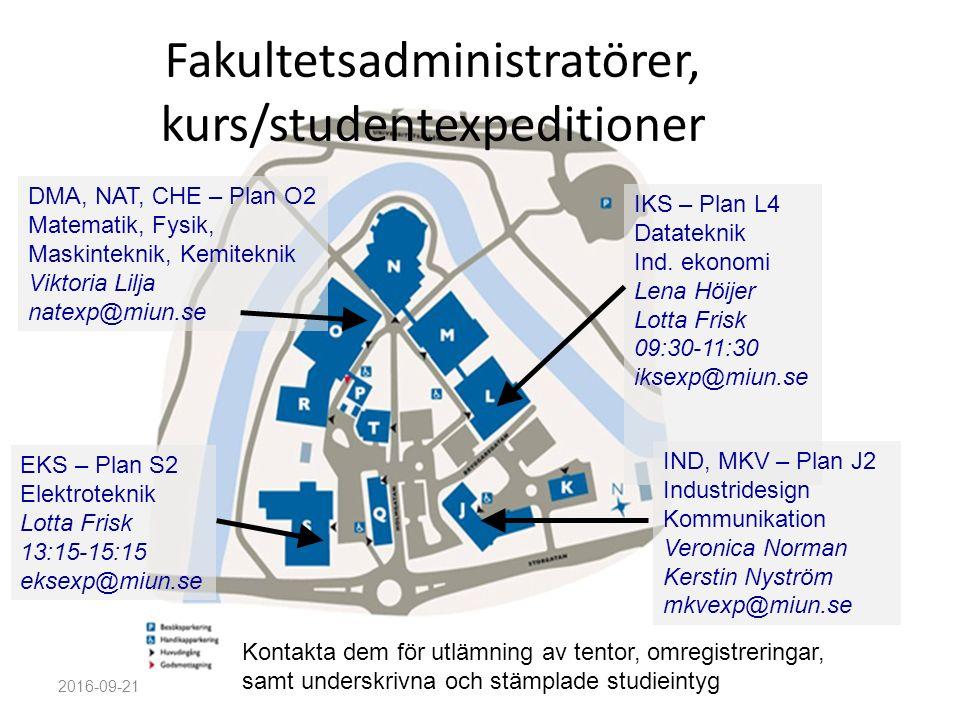 Fakultetsadministratörer, kurs/studentexpeditioner 2016-09-21 IKS – Plan L4 Datateknik Ind.