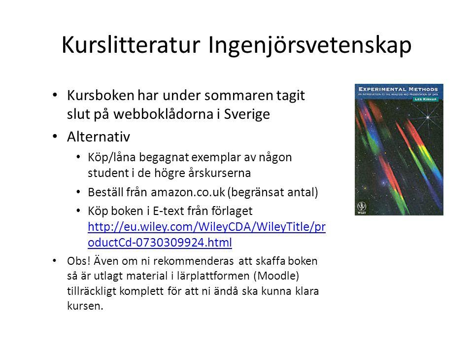 Kurslitteratur Ingenjörsvetenskap Kursboken har under sommaren tagit slut på webboklådorna i Sverige Alternativ Köp/låna begagnat exemplar av någon student i de högre årskurserna Beställ från amazon.co.uk (begränsat antal) Köp boken i E-text från förlaget http://eu.wiley.com/WileyCDA/WileyTitle/pr oductCd-0730309924.html http://eu.wiley.com/WileyCDA/WileyTitle/pr oductCd-0730309924.html Obs.