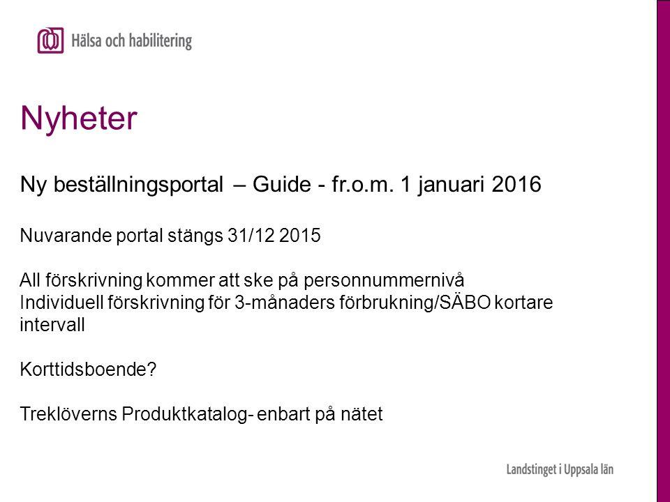 Nyheter Ny beställningsportal – Guide - fr.o.m. 1 januari 2016 Nuvarande portal stängs 31/12 2015 All förskrivning kommer att ske på personnummernivå