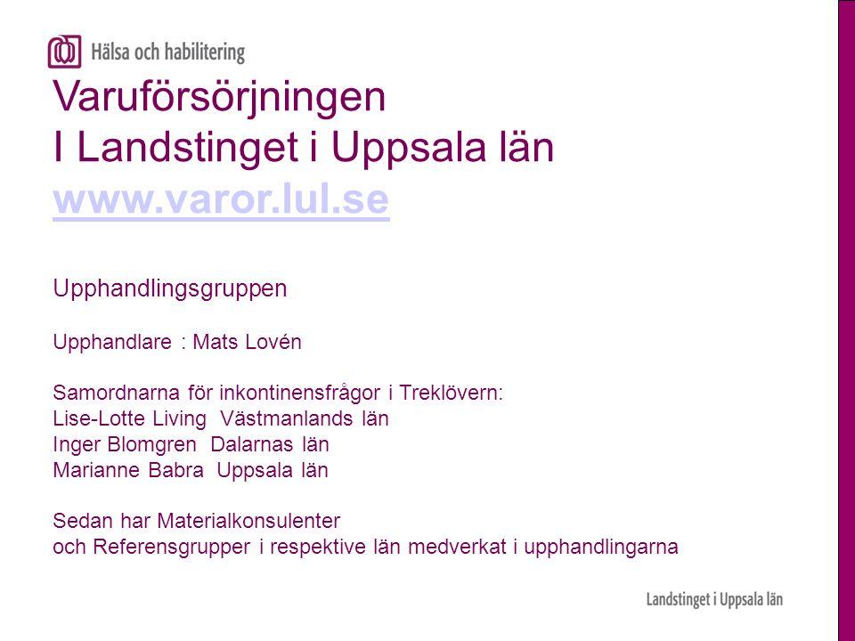 Varuförsörjningen I Landstinget i Uppsala län www.varor.lul.se Upphandlingsgruppen Upphandlare : Mats Lovén Samordnarna för inkontinensfrågor i Treklö