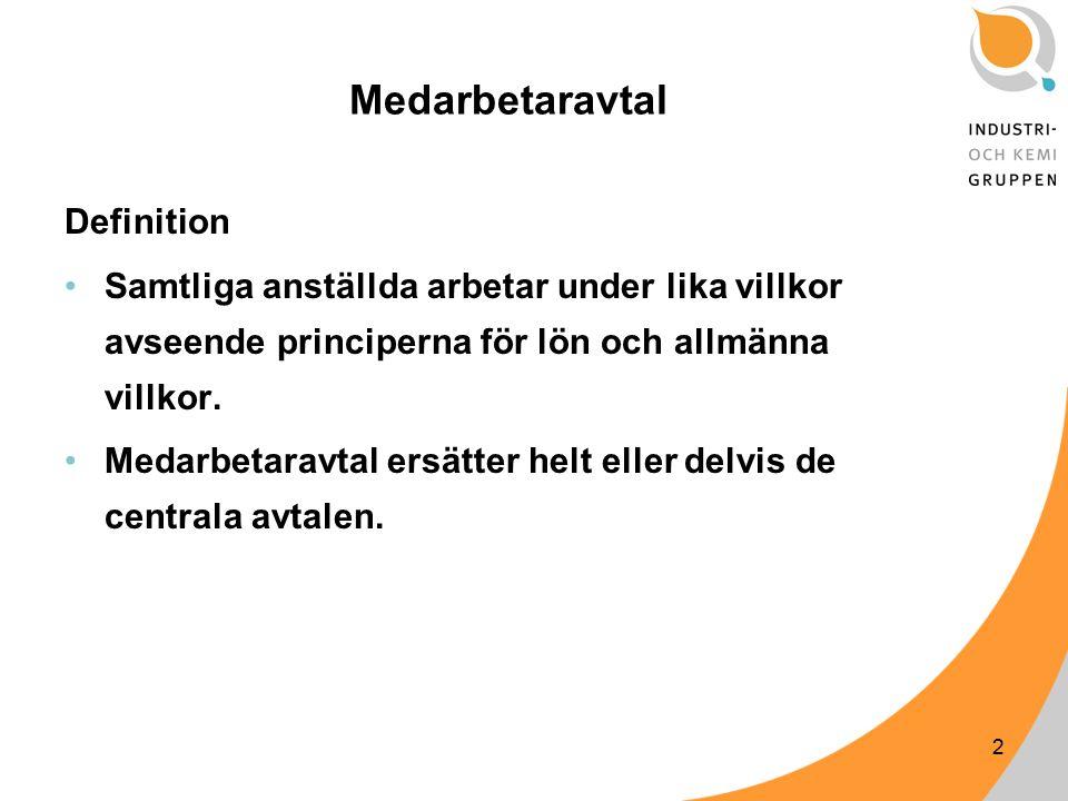 2 Medarbetaravtal Definition Samtliga anställda arbetar under lika villkor avseende principerna för lön och allmänna villkor.