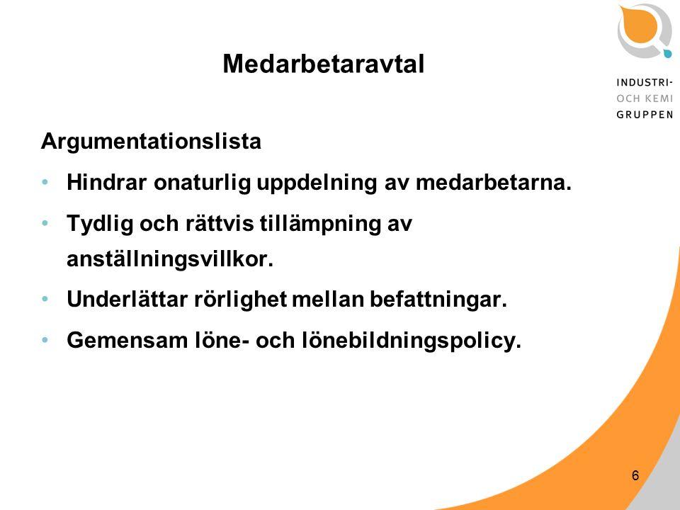 6 Medarbetaravtal Argumentationslista Hindrar onaturlig uppdelning av medarbetarna.