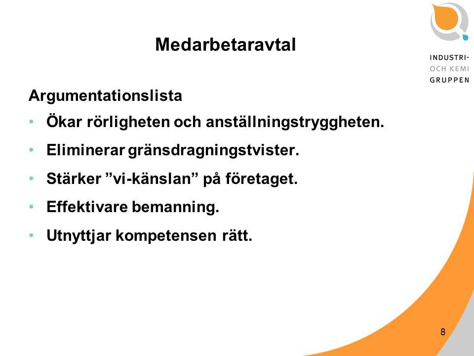 8 Medarbetaravtal Argumentationslista Ökar rörligheten och anställningstryggheten.