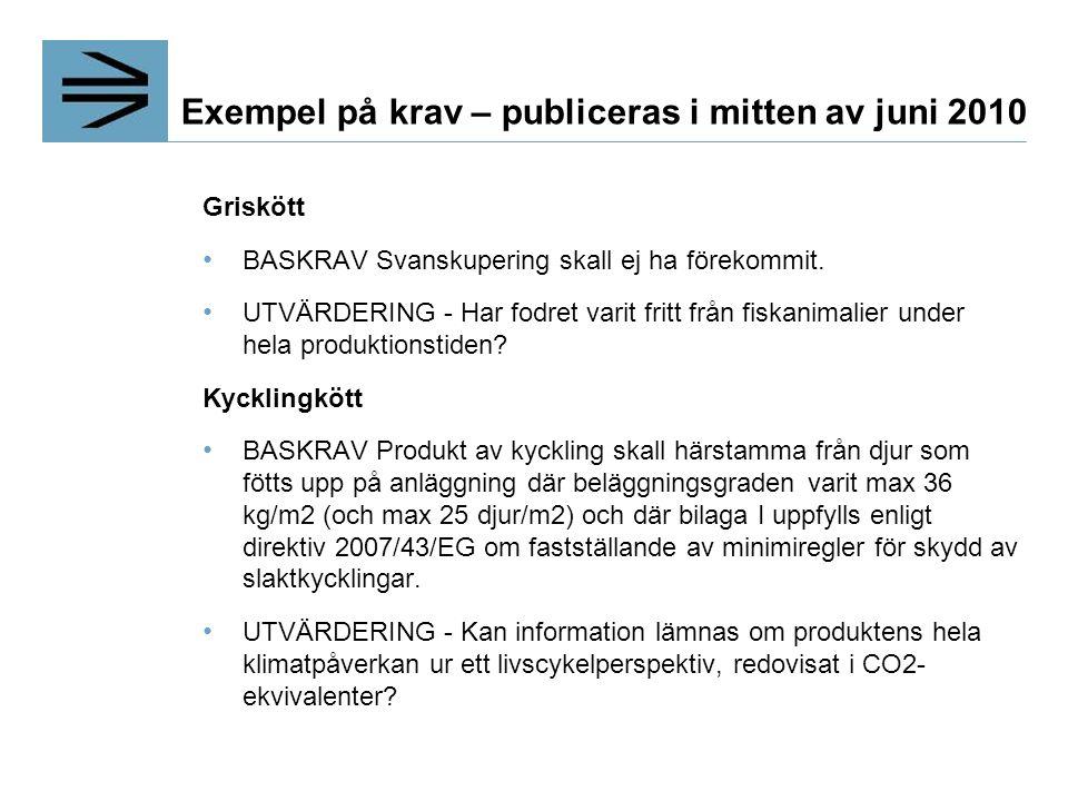 Exempel på krav – publiceras i mitten av juni 2010 Griskött BASKRAV Svanskupering skall ej ha förekommit.