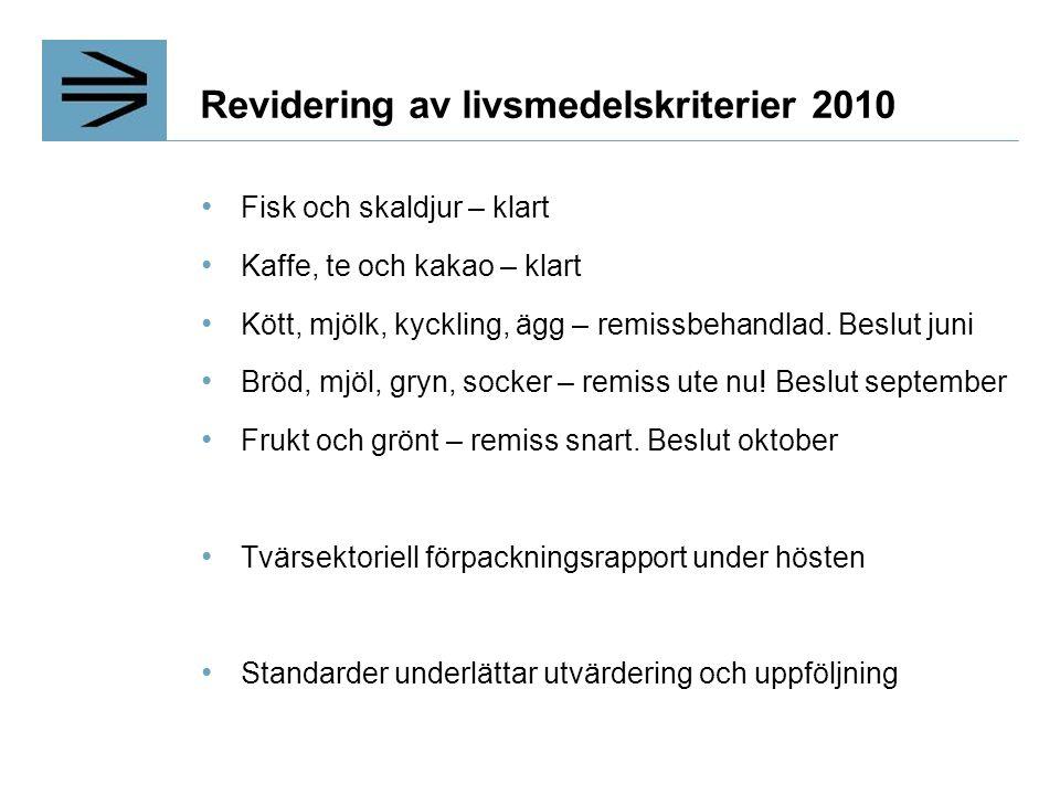 Revidering av livsmedelskriterier 2010 Fisk och skaldjur – klart Kaffe, te och kakao – klart Kött, mjölk, kyckling, ägg – remissbehandlad.