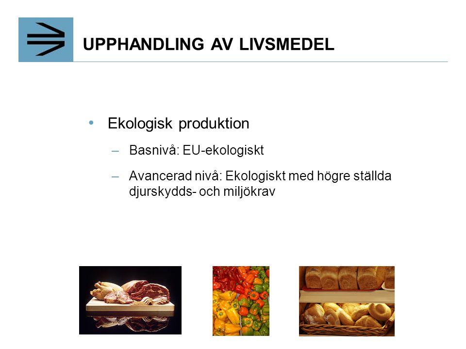 UPPHANDLING AV LIVSMEDEL Ekologisk produktion –Basnivå: EU-ekologiskt –Avancerad nivå: Ekologiskt med högre ställda djurskydds- och miljökrav