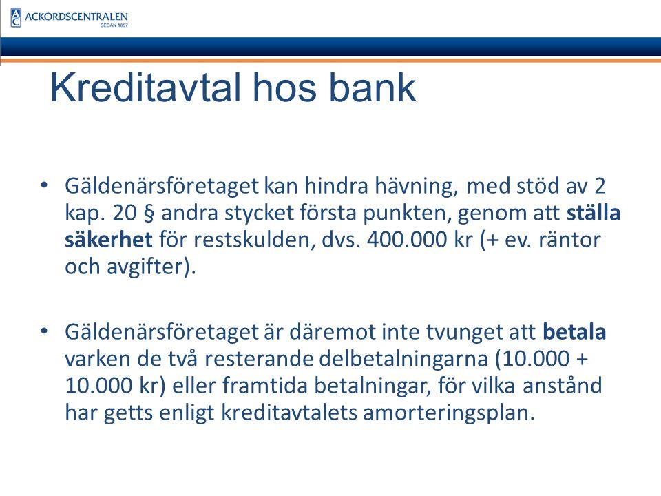 Kreditavtal hos bank Exempel 2 Kreditavtalet är träffat, men att kreditsumman inte är utbetald.