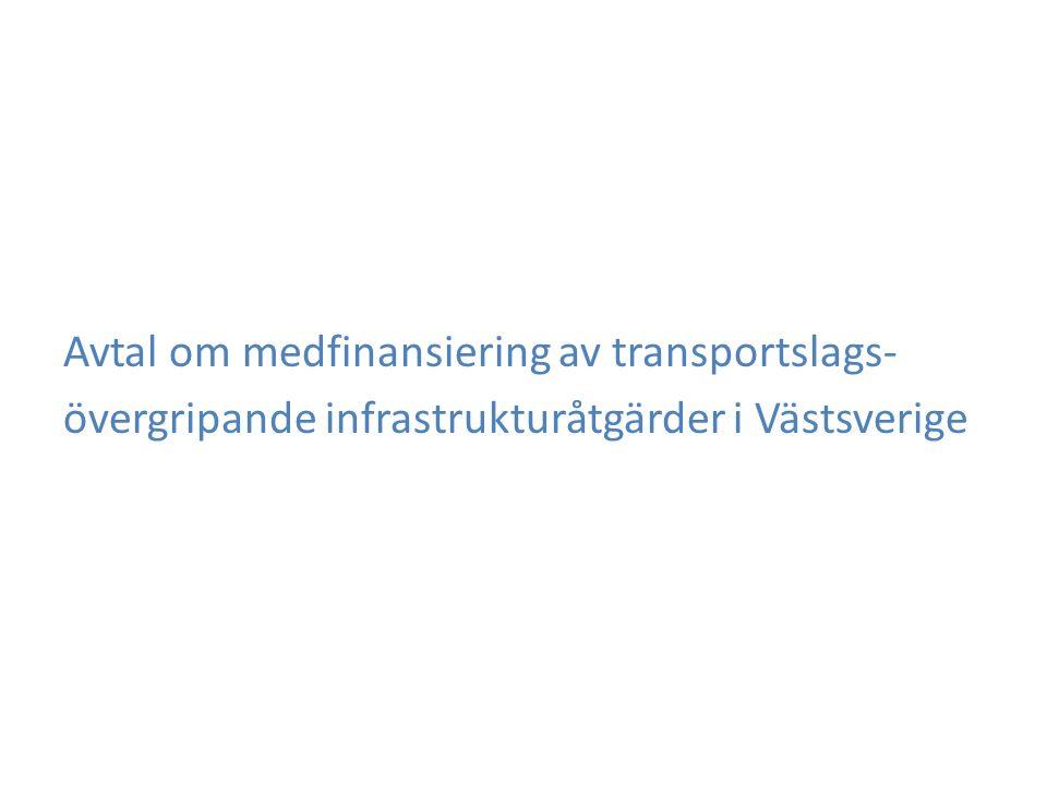 Avtal om medfinansiering av transportslags- övergripande infrastrukturåtgärder i Västsverige