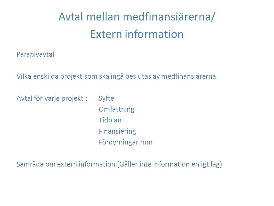 Avtal mellan medfinansiärerna/ Extern information Paraplyavtal Vilka enskilda projekt som ska ingå beslutas av medfinansiärerna Avtal för varje projekt : Syfte Omfattning Tidplan Finansiering Fördyrningar mm Samråda om extern information (Gäller inte information enligt lag)