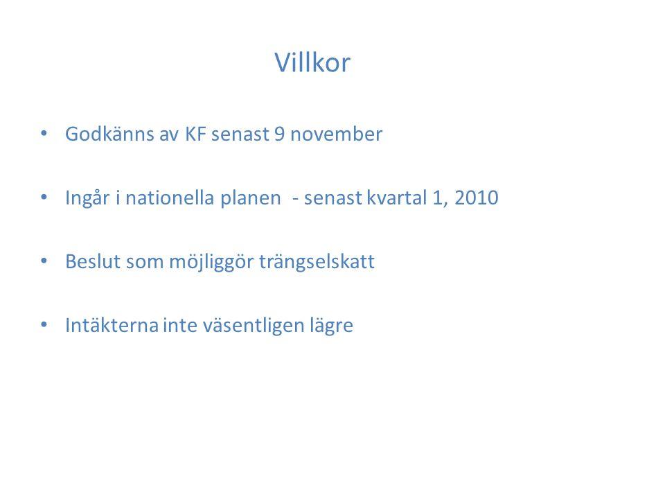 Villkor Godkänns av KF senast 9 november Ingår i nationella planen - senast kvartal 1, 2010 Beslut som möjliggör trängselskatt Intäkterna inte väsentligen lägre
