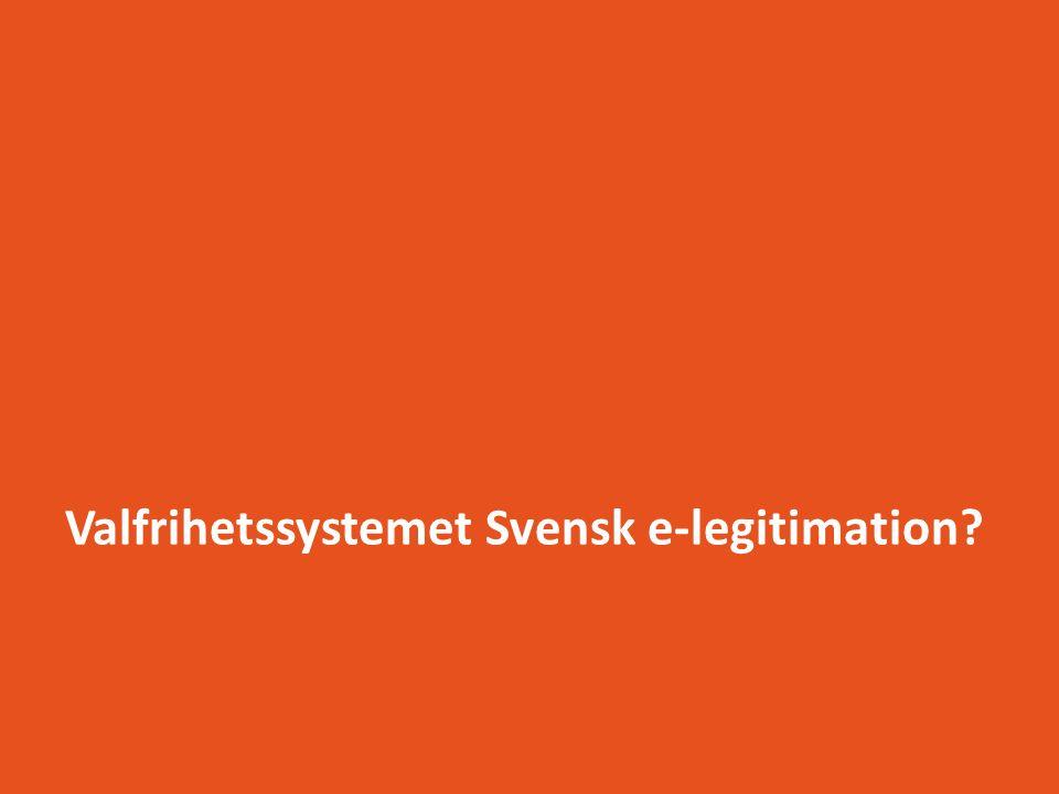 Alla berörda direkt och indirekt Tillhanda- hållare av e-tjänster i offentlig sektor Privata användare med svenska e- legitimationer Privata utfärdare av e-legitimationer Privata eID- leverantörer Leverantörer av centrala tjänster Ägare Regeringen /Näringsdep Utländska e- legitimationers eID- leverantörer Företagsanvändare med svenska e- legitimationer Offentliga utfärdare med off sektor som arbetsgivare Offentliganställda användare Vägledande myndigheter MSB, FRA, m fl EU kommissionen Media E-legitimations nämnden Offentliga utfärdare av e-leg till privatpersoner Riksdagen Offentliga eID- leverantörer Övriga länder Andra eIDAS-länder Användare med utländska e- legitimationer Tillhandahållare av e-tjänster privat sektor Grundidentifierare i privat sektor Grundidentifierare i offentlig sektor Valfrihetssystemet Svensk e-legitimation