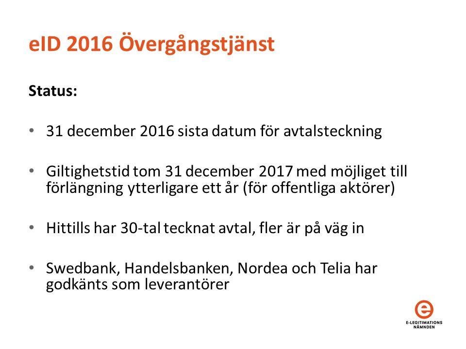 eID 2016 Övergångstjänst Status: 31 december 2016 sista datum för avtalsteckning Giltighetstid tom 31 december 2017 med möjliget till förlängning ytterligare ett år (för offentliga aktörer) Hittills har 30-tal tecknat avtal, fler är på väg in Swedbank, Handelsbanken, Nordea och Telia har godkänts som leverantörer