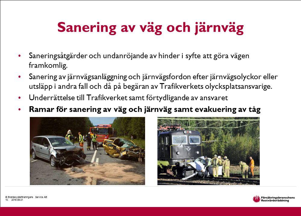 Sanering av väg och järnväg Saneringsåtgärder och undanröjande av hinder i syfte att göra vägen framkomlig. Sanering av järnvägsanläggning och järnväg