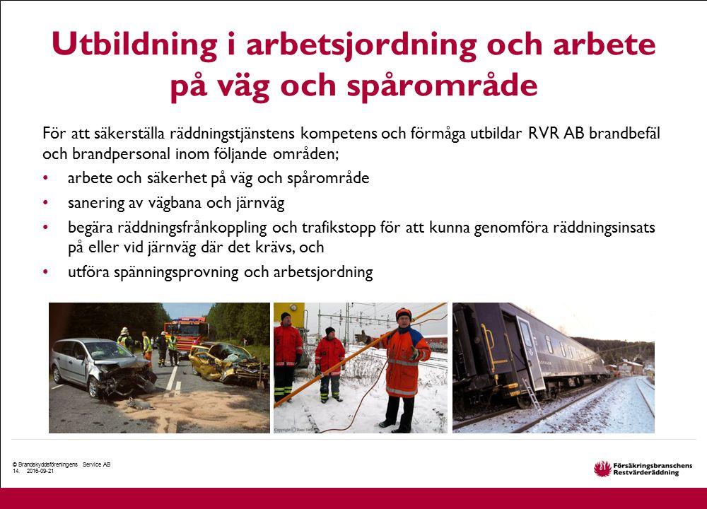 Utbildning i arbetsjordning och arbete på väg och spårområde För att säkerställa räddningstjänstens kompetens och förmåga utbildar RVR AB brandbefäl o