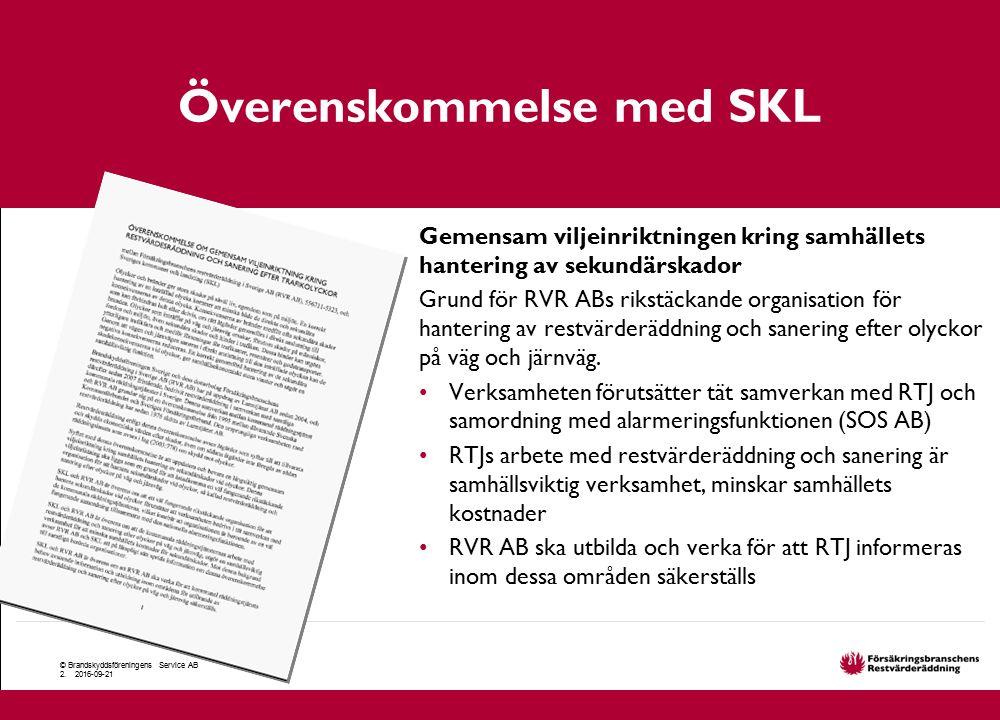 Överenskommelse med SKL © Brandskyddsföreningens Service AB 2. 2016-09-21 Gemensam viljeinriktningen kring samhällets hantering av sekundärskador Grun
