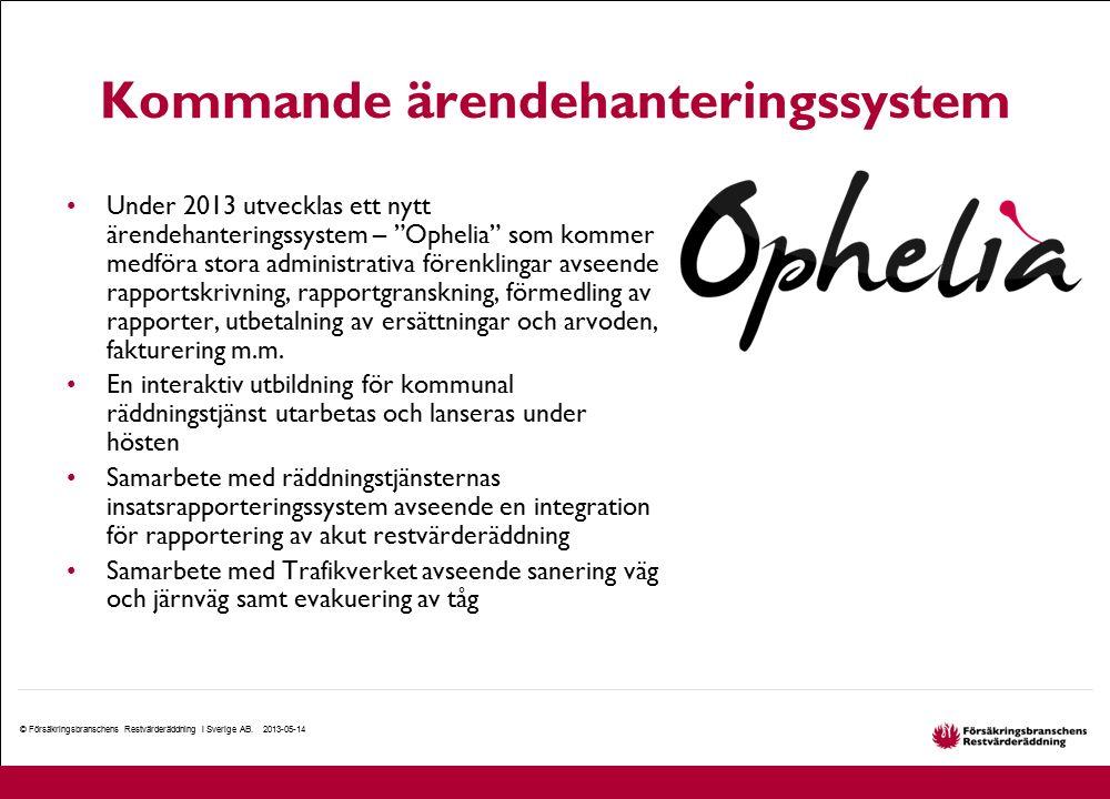 Kommande ärendehanteringssystem © Försäkringsbranschens Restvärderäddning i Sverige AB. 2013-05-14 Under 2013 utvecklas ett nytt ärendehanteringssyste