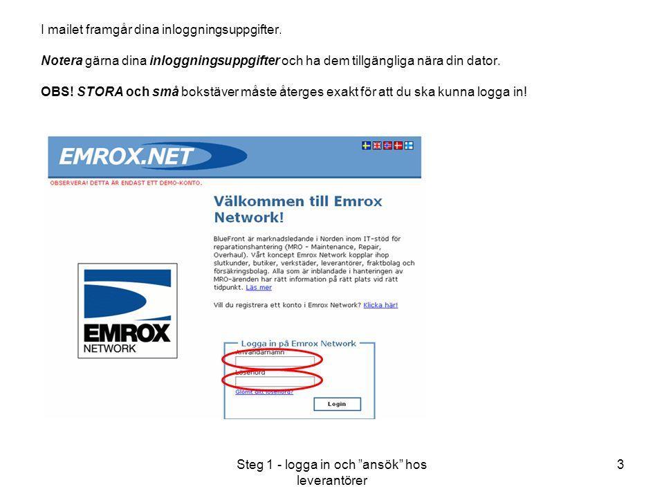 Steg 1 - logga in och ansök hos leverantörer 3 I mailet framgår dina inloggningsuppgifter.