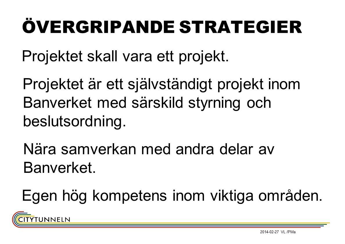 ÖVERGRIPANDE STRATEGIER Projektet skall vara ett projekt. Projektet är ett självständigt projekt inom Banverket med särskild styrning och beslutsordni