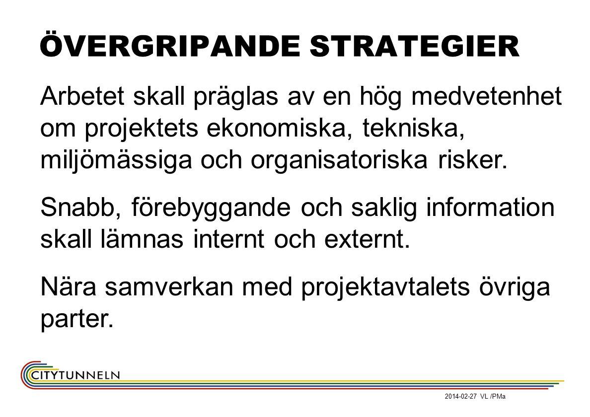 2014-02-27 VL /PMa ÖVERGRIPANDE STRATEGIER Arbetet skall präglas av en hög medvetenhet om projektets ekonomiska, tekniska, miljömässiga och organisatoriska risker.