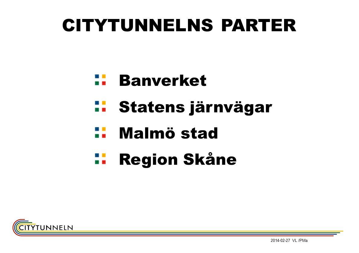 Banverket Statens järnvägar Malmö stad Region Skåne CITYTUNNELNS PARTER 2014-02-27 VL /PMa