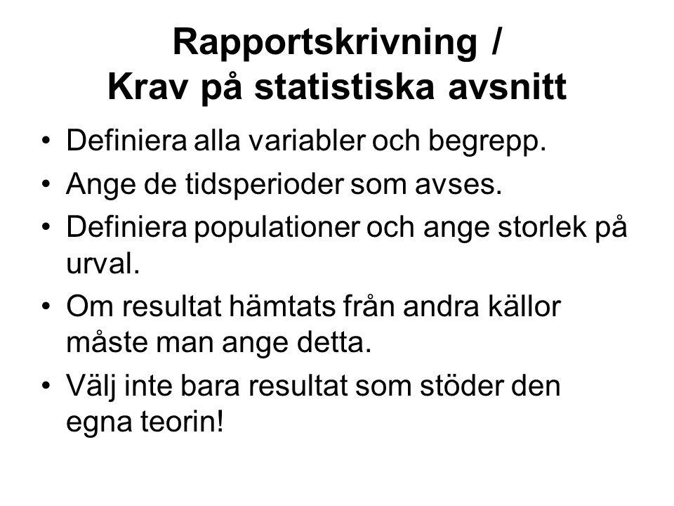 Rapportskrivning / Krav på statistiska avsnitt Definiera alla variabler och begrepp.