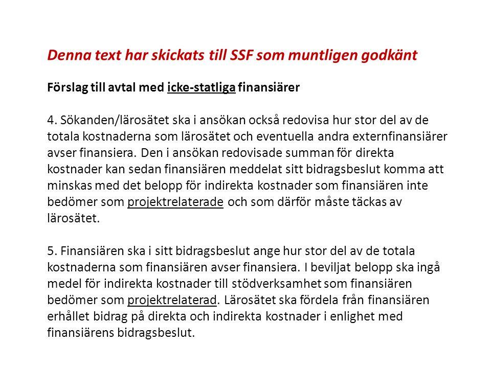 Denna text har skickats till SSF som muntligen godkänt Förslag till avtal med icke-statliga finansiärer 4. Sökanden/lärosätet ska i ansökan också redo