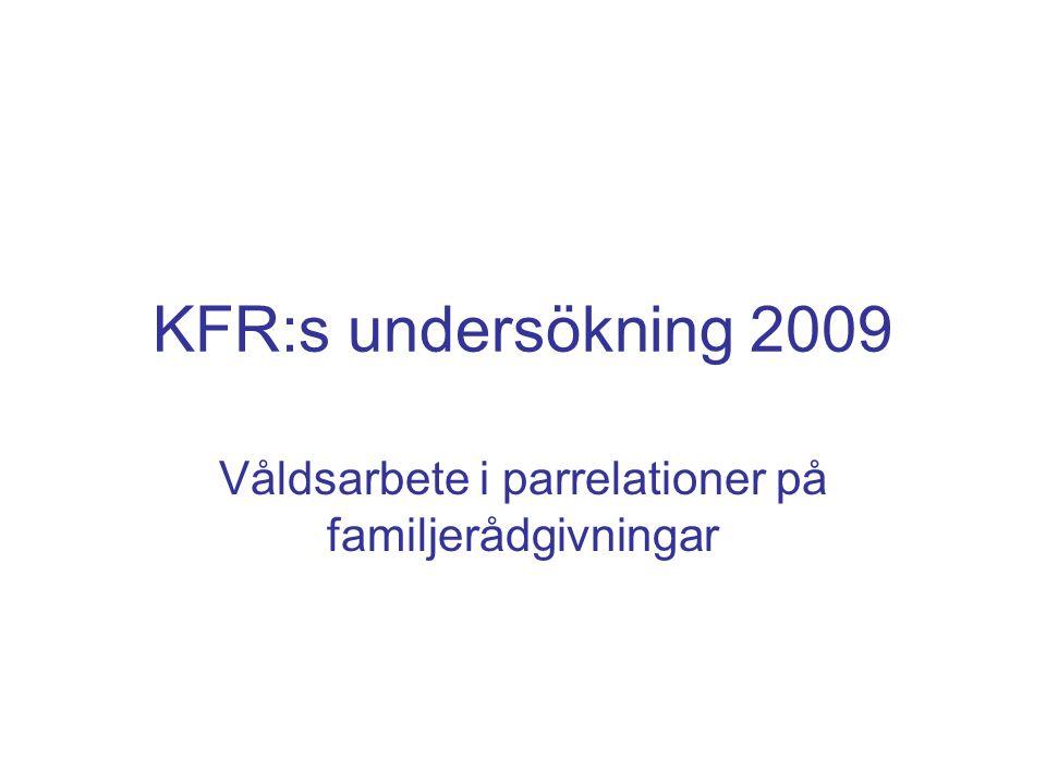 KFR:s undersökning 2009 Våldsarbete i parrelationer på familjerådgivningar